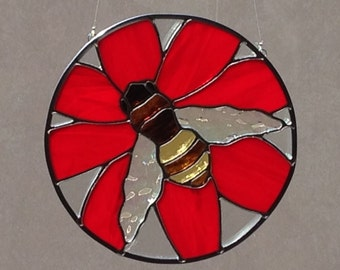Stained Glass Bee And Red Flower Suncatcher