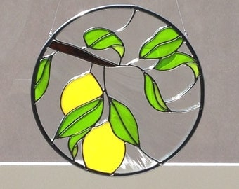 Stained Glass Lemon Tree And Leaf Suncatcher