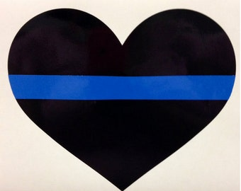 Thin Blue Line Heart Decal-Law Enforcement-Fallen Heroes-Brotherhood-Blue Line Wife-wives-Vinyl-car-laptop-uniform-FREE SHIPPING