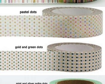 Full Rolls Metallic Foil Washi Tape Polka Dots,Rainbow,Pastels,Gold