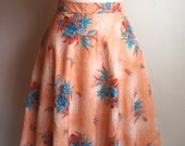 Coral & Turquoise Hawaiian Floral Vintage Skirt, Knee Length, Lined, Swing, Lindy Hop