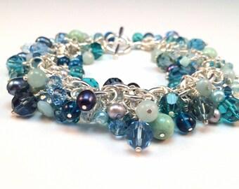 Crystal Bracelet - Chunky Crystal Bracelet - Swarovski Crystal Bracelet - Cluster Crystal Bracelet
