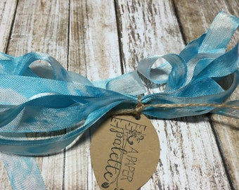 Hand Dyed Ribbon, Clouds In The Sky 3 yards seam binding blue colorfast crinkle for scrapbooks mixed media altered art jewelry wedding craft