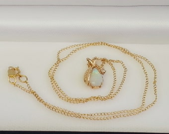 Cute and small opal diamond leaf 14K yellow gold pendant and necklace set