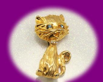 Vintage Brooch Rhinestone Brooch Gold Tone and Rhinestone Cat Brooch Vintage Brooch Vintage Jewelry