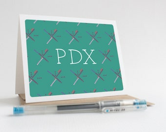 Portland PDX Airport Carpet - Greeting Card