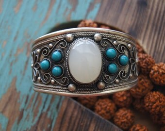Boho Cuff, Bohemian Cuff, Tibetan Cuff, Nepalese Jewelry, Free People Handmade, Turquoise Cuff,