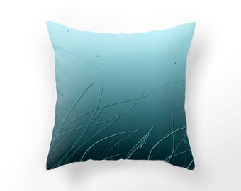 DECORATIVE THROW PILLOW cover, underwater cushion cover, blue ocean pillow case, home decor, surreal underwater pillow, nature design