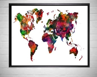 A2 Poster A3 Poster Poster Printables World Map Watercolor Watercolour Printable A1 Poster Large Printable World Map Poster Kids Room decor