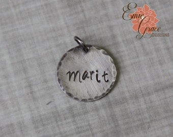 """5/8"""" Name Charm, Sterling Silver Personalized Jewelry, Custom Stamped Disk"""