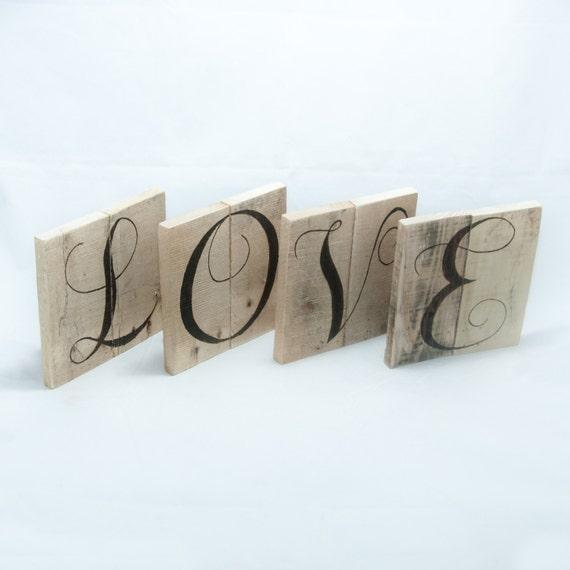 Love Letters Word Art Wood Art Reclaimed Wood Wall Art Wedding Letters