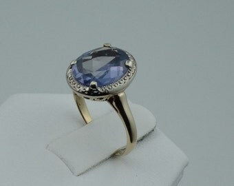 Lovely Vintage Created Alexandrite 10K White and Yellow Gold Ring  #ALEXLAB-GR2
