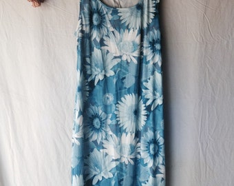 90's Oversized Digital Blue Floral Printed Maxi Dress