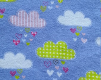 Baby Play Mat or Snuggle Blanket - Flannel - Clouds