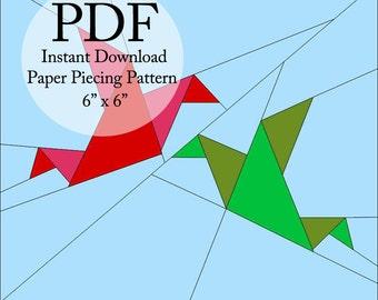 "Origami Birds! PDF pattern for paper piecing. 6""x6"" block."