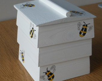 Bee hive decorative trinket/ornamental wooden box .