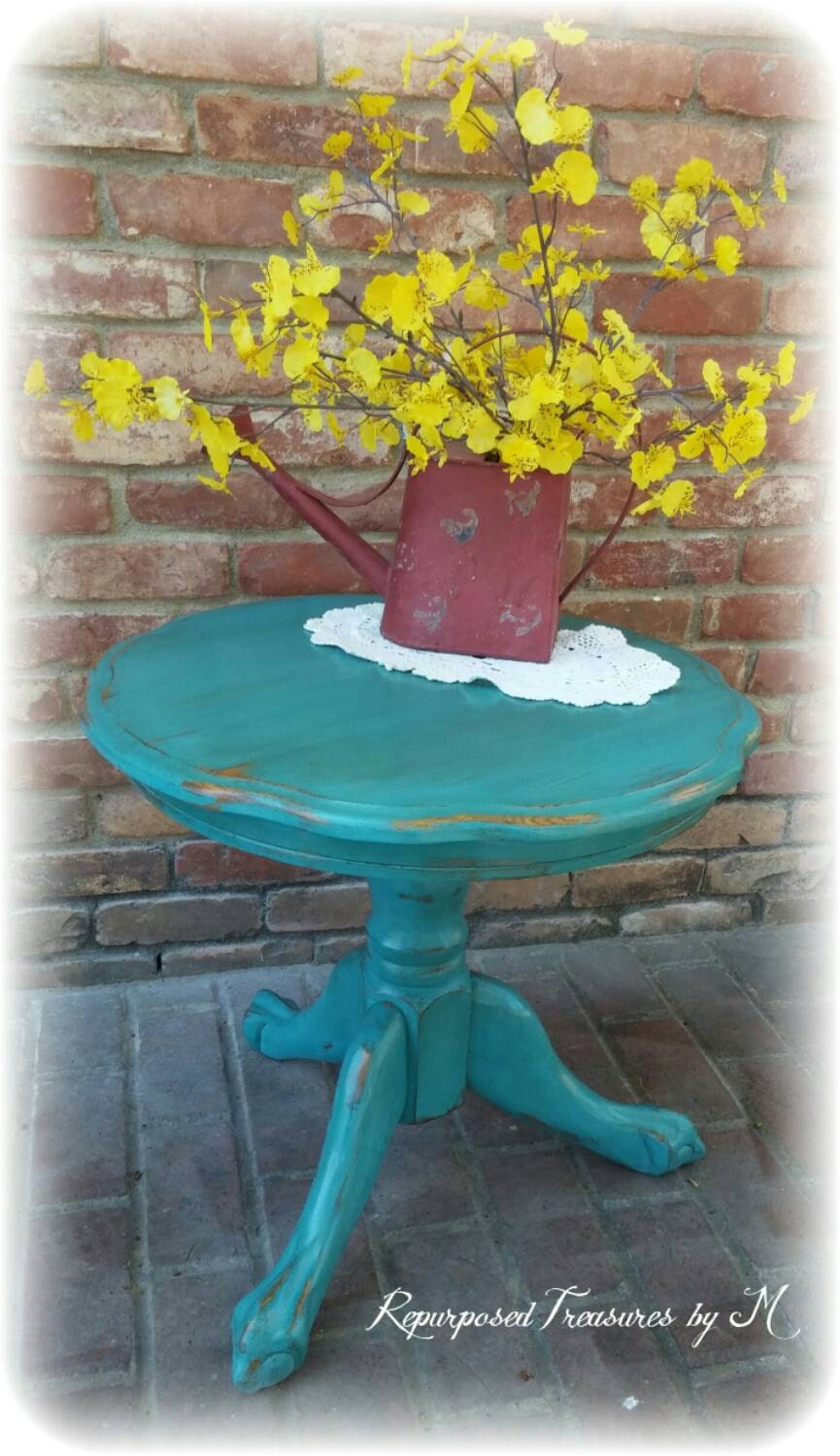 Vintage Accent Table, Turquoise Table, Shabby Chic Accent Table, Distressed  Table, Rustic Accent Table, Teal Accent Table, Clawfoot Table