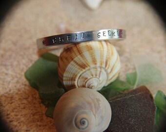 "Shell Seeker Cuff Bracelet aluminum engraved 1/4"" x 6"" Personalized"