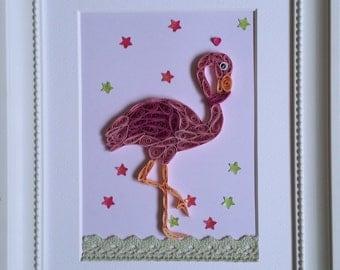 Pink Flamingo, Quilling Paper Art