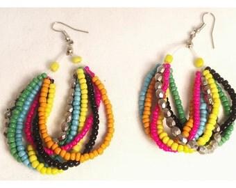 Multi-Color Beaded Hoop Earrings