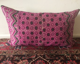 Vintage Throw Pillow Chinese Miao Wedding Blanket Pink Black Embroidered Textile Pillow 14x23 Down Insert Included
