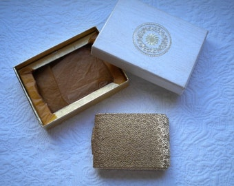 Floral Vintage Max Factor Gold Tone Powder Make-up Compact