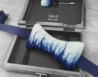 Limited edition artisan bow tie & lapel pin in branded wooden gift-box --BLUE CORAL