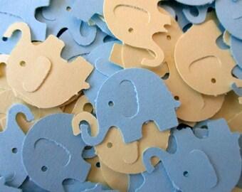 110-Elephant confetti-Scrapbook die cuts-Elephant punches-Baby boy Shower decorations-punched Blue elephants-embellishments-paper elephants