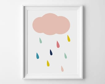 Kids room wall decor, Cloud nursery print, Nursery printable, Nursery artwork, Cloud art, Cloud printable, Rain Cloud, Cute wall decor