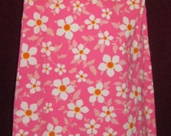 Vintage Pink Floral Day Dress/ House Dress with Large White Buttons all the way down the side- 1960's Fab!!!!