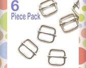 "1/2 Inch Moving Bar Slide, Nickel Finish, 6 Pieces, Movable Bar Slide, Purse Handbag Bag Making Hardware Supplies, .5 Inch, 1/2"", .5"""