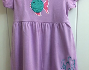Ruffle Blowfish Appliqued Dress with Initials