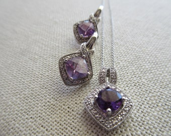 Sterling Silver Purple Gemstone Necklace & Earrings
