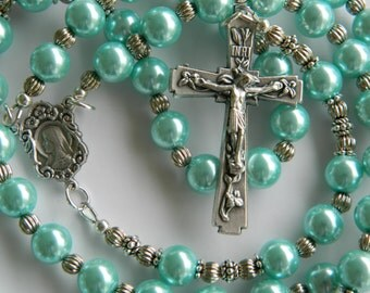 CATHOLIC ROSARY, Aqua Glass Pearls, Crucifix with Lillies, Mary/Sacred Heart of Jesus center, Corrugated Spacer Beads, Prayer Beads, Gift