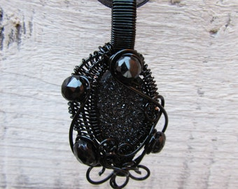 Black Druzy / Drusy Gemstone and Spinel Black Wire-wrapped Pendant Necklace