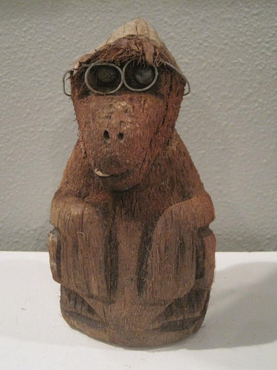 Rare Mid Century Hand Carved Coconut Monkey Gorilla With Wire