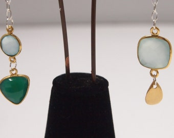 Dissimilar Large Gold Vermeil, Agua and Blue Chalcedony, Green Onyx and Sterling Silver Earrings