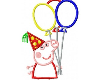 Peppa Pig with Balloons Applique Design in 4 Sizes - Instant Download