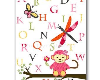 Monkey Alphabet Nursery Prints Baby Girl Nursery Art Digital Art Printable Art Digital Download 8x10 11X14 INSTANT DOWNLOAD Pink Yellow Red