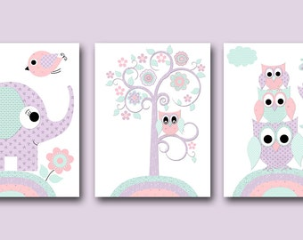 Instant Download ART Digital Download Print Baby Girl Nursery Art Kids Room Decor Childrens Art Print Set of 3 8X10 11X14 Purple Mint Pink