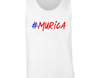 "4th of July ""#Murica"" Patriotic Funny Tank Top Sleevless Tee Shirt 4th of July Tank Women Men Outfit. Independence Day. Merica America 4J6"