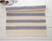 Ivory, blue, beige cotton rug, off white rug, scandinavian design rug, washable, handmade, reversible, woven on the loom, made to order