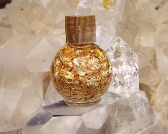 24k Gold-Gold-Gold Bottle- Bottle of Gold flakes- Glass jar-Bottle of Gold-Geology Collection