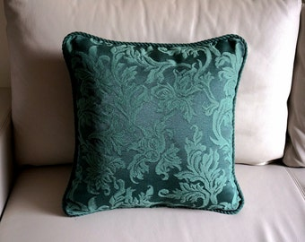 Forest Green pillow cover green Embroidered throw pillow embroidered cushion cover twisted fringe damask Decorative pillow with fringe