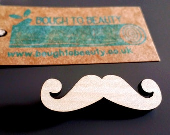Black and blonde moustache badge. Lasercut and handmade upcycled wooden jewellery.