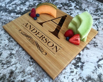 """Personalized Bamboo Cutting Board 11x13"""" (3/4"""" thick)- Anderson Style"""