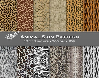 Animal Skin Pattern Prints - Digital Scrapbook Papers - 12 sheets, 12x12, CU OK - Instant Download
