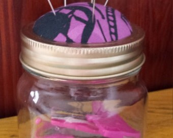 Sewing Jar with Pincushion and Sewing Kit