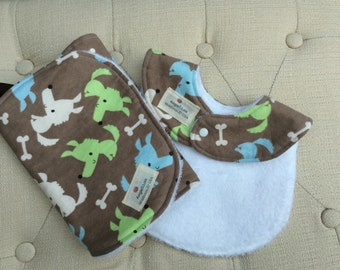 Flannel and Chenille Bib and burp wipe Set, Baby Shower Gift, Puppy Print Bib and Burp wipe, brown bib,green burp wipes