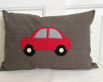 Nursery Car Applique Pillow Cover, Red Car Crib Pillow, Children's Room Decor, Car Themed Toss Pillow, Boy's Decorative Pillow, Boy's Accent